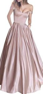 Blush satin formal gown